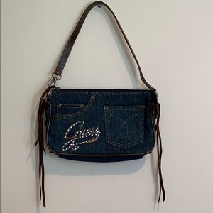 Guess Small Denim Jeans Purse Side Suede Tie Up